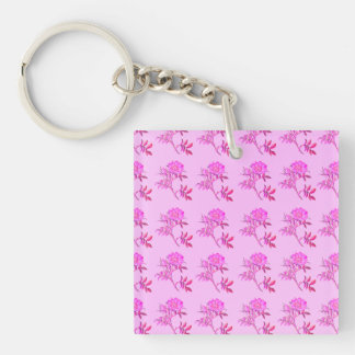 Pink Roses pattern Single-Sided Square Acrylic Key Ring