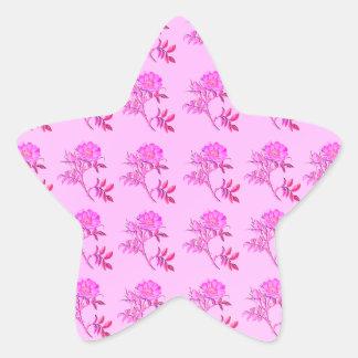 Pink Roses pattern Star Sticker