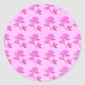 Pink Roses pattern Round Stickers