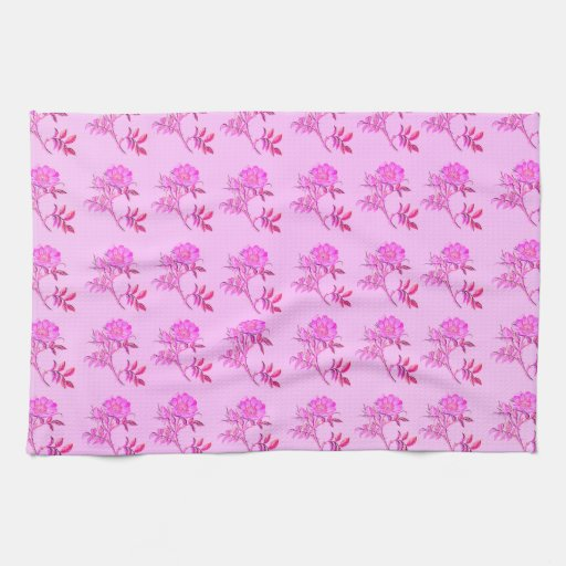 Pink Roses pattern Kitchen Towel