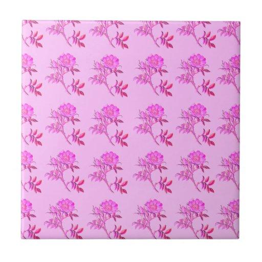 Pink Roses pattern Ceramic Tile