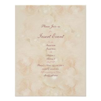 Pink roses pearls elegant wedding engagement custom invitation