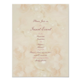 "Pink roses pearls elegant wedding engagement 4.25"" x 5.5"" invitation card"