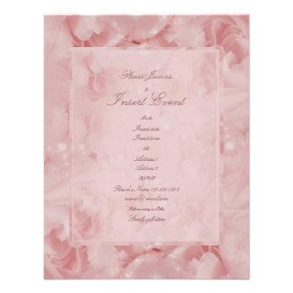 Pink roses pearls elegant wedding engagement custom announcement