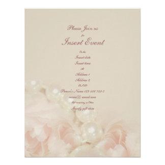 Pink roses pearls elegant wedding engagement personalized invitation