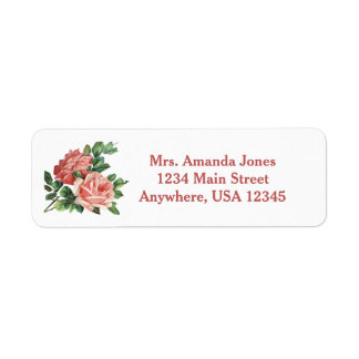 Pink Roses | Personalized Return Address Label