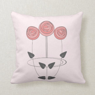 Pink Roses Pillow in the Art Nouveau Style Cushion