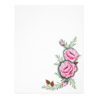 PINK ROSES & PINE by SHARON SHARPE 21.5 Cm X 28 Cm Flyer