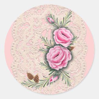 PINK ROSES & PINE by SHARON SHARPE Classic Round Sticker