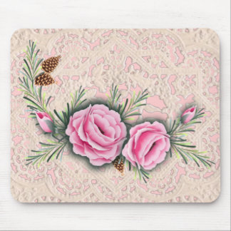 PINK ROSES & PINE by SHARON SHARPE Mouse Pad