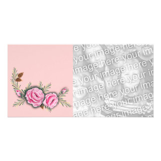 PINK ROSES & PINE by SHARON SHARPE Personalised Photo Card