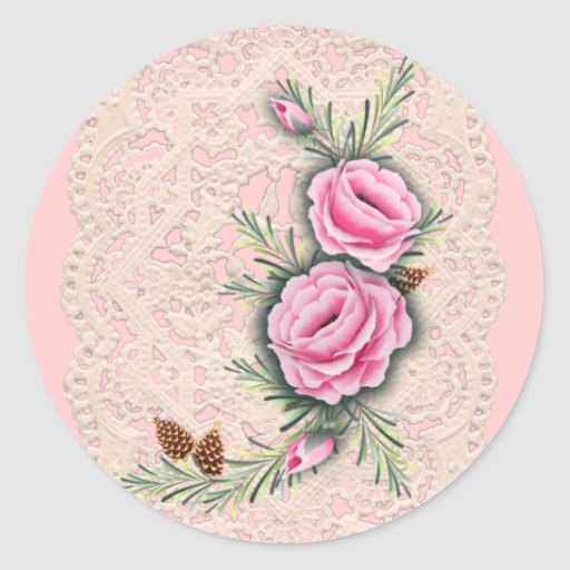PINK ROSES & PINE by SHARON SHARPE Round Sticker