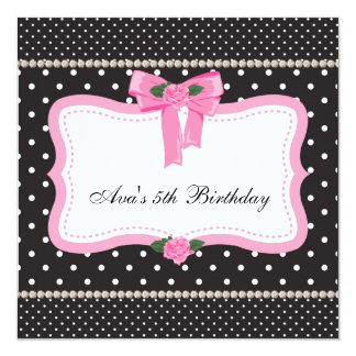 Pink Roses Pink Black Girls 5th Birthday Party 13 Cm X 13 Cm Square Invitation Card