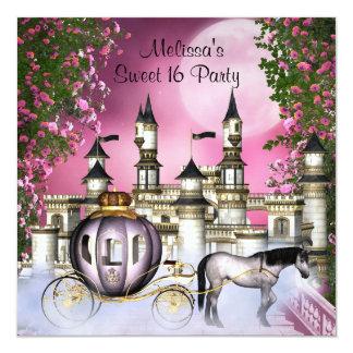 Pink Roses Princess Sweet 16 Birthday Party 13 Cm X 13 Cm Square Invitation Card