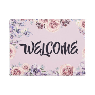 Pink Roses Purple Flowers Border Welcome Door Mat