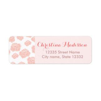 Pink roses return address label
