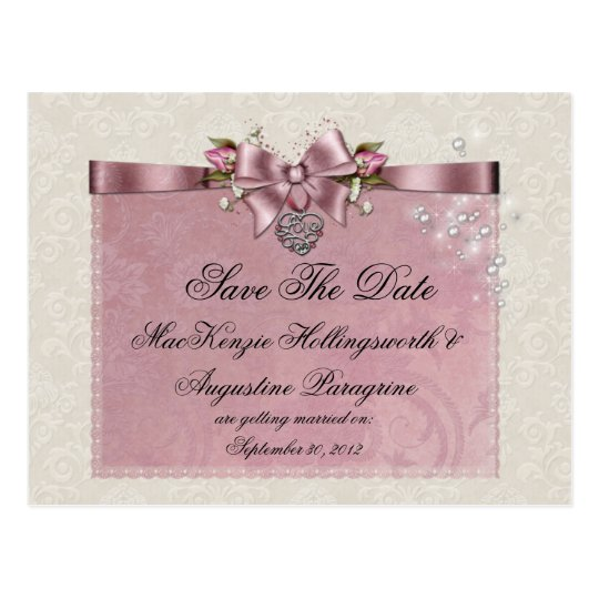 Pink Roses Ribbons Locket Glitter Save The Date