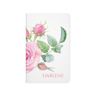 Pink Roses Rosebuds Greenery Monogrammed Journal