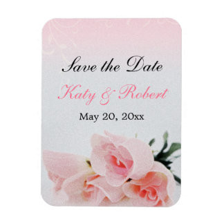 Pink Roses Save the Date Flexi Magnet