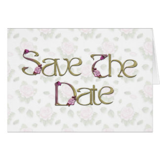 Pink Roses Save the Date Note Card