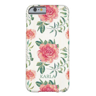 Pink Roses Seamless Pattern Barely There iPhone 6 Case