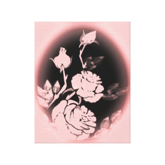 Pink Roses Silhouette Motif Canvas Print
