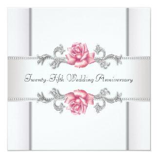 Pink Roses Silver 25th Wedding Anniversary 13 Cm X 13 Cm Square Invitation Card