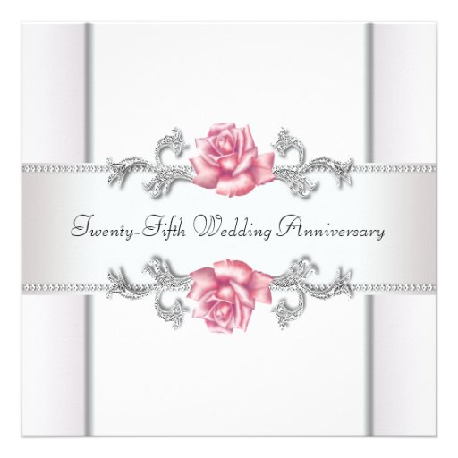 Pink Roses Silver 25th Wedding Anniversary Personalized Invitations
