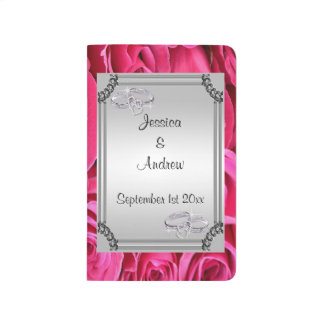 Pink Roses, Silver Frame & Diamond Wedding Rings Journal
