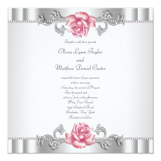 Pink Roses Silver White Pink Elegant Wedding Card