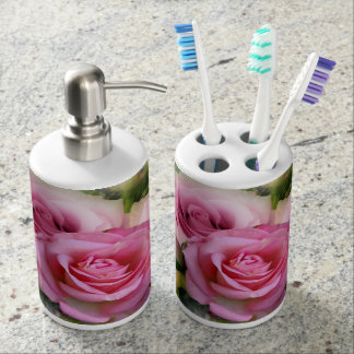 Pink Roses Soap Dispenser And Toothbrush Holder