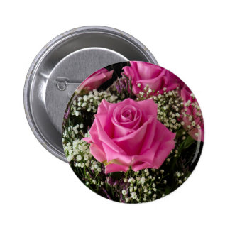 Pink Roses Standard, 2¼ Inch Round Button