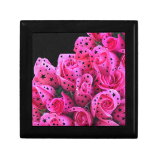 Pink Roses Stars Small Square Gift Box