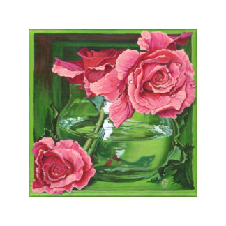 Pink Roses Still-Life Trompe-loeil Painting Gallery Wrap Canvas