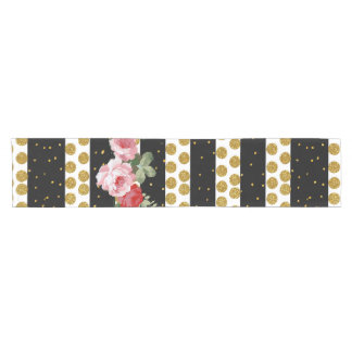 Pink roses stripes gold faux glitter polka dots