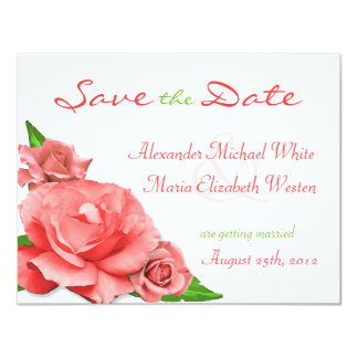 Pink Roses Summer Watercolor Save the Date Custom Announcements