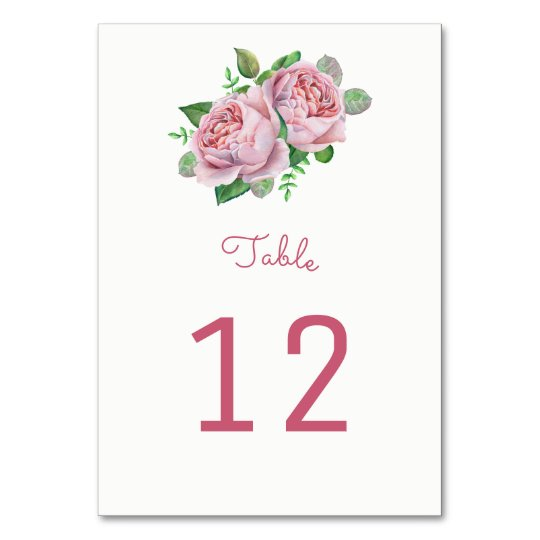 Pink Roses Table Number Cards
