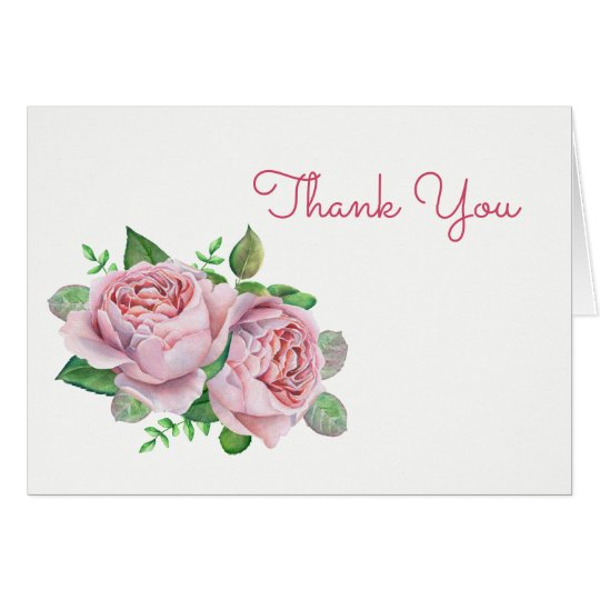 Pink Roses Thank You Card
