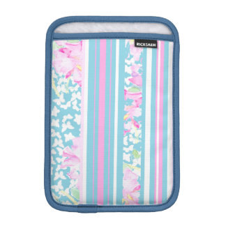 Pink Roses, Turquoise Stripes: iPad Mini Sleeve