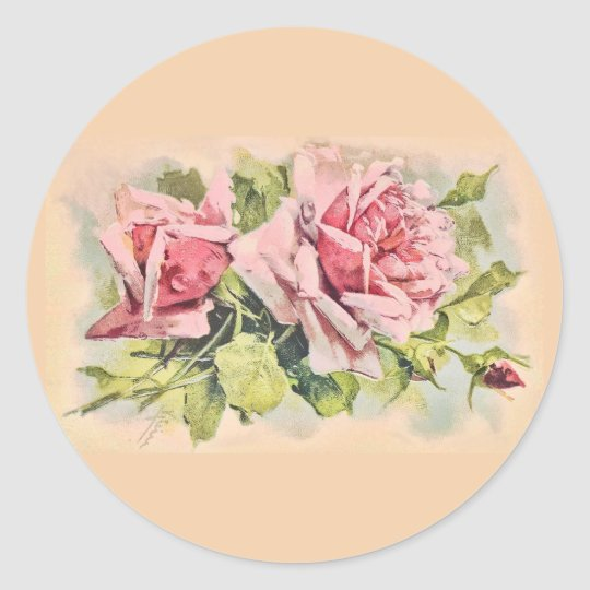Pink Roses Vintage Floral Classic Round Sticker
