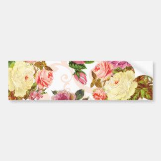 Pink roses vintage floral pattern bumper sticker