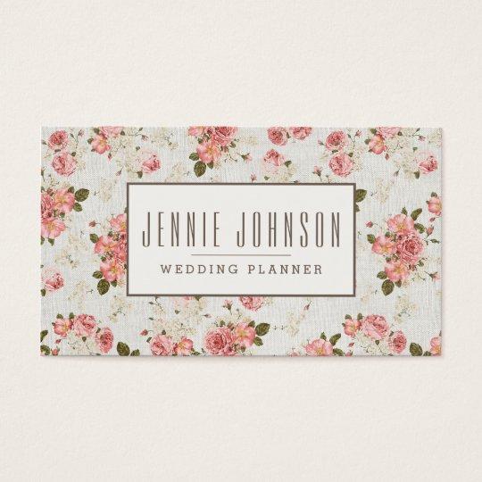 Pink Roses Vintage Floral Pattern Business Card