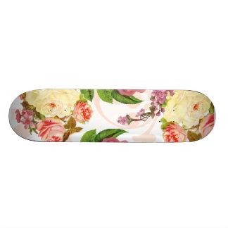 Pink roses vintage floral pattern skate board deck