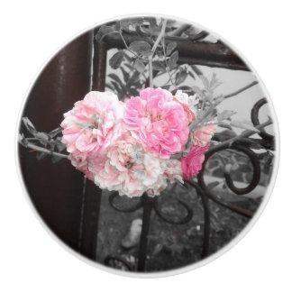 Pink Roses Vintage Style Ceramic Knob