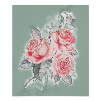 Pink Roses Watercolor Bouquet Poster