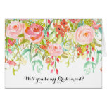 Pink Roses Watercolor Floral Be My Bridesmaid Greeting Card