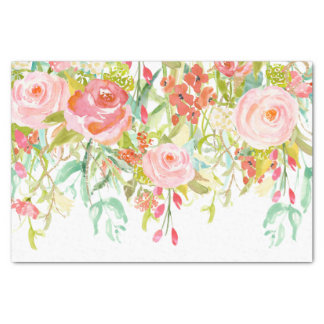 Pink Roses Watercolor Tissue Paper