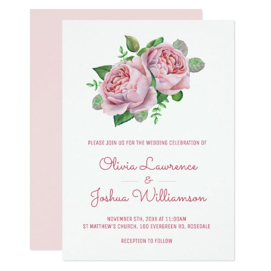 Pink Roses Watercolor Wedding Invitations