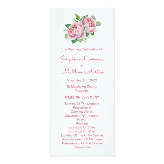 Pink Roses Watercolor Wedding Programs