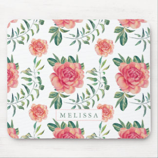 Pink Roses Watercolors Illustration Pattern Mouse Pad